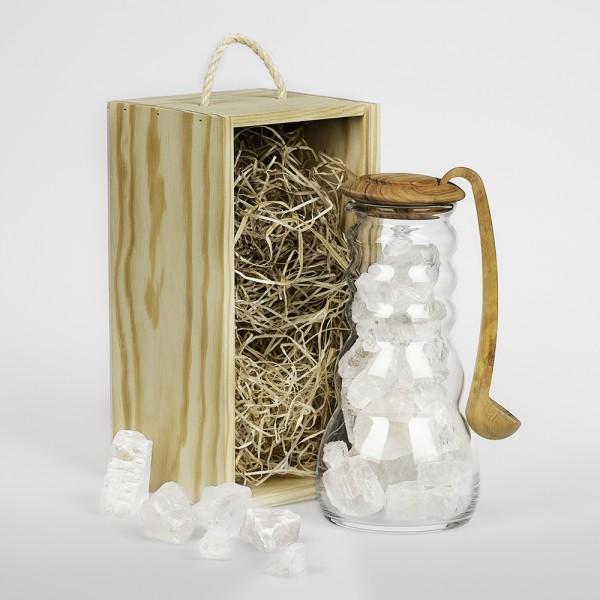 Cadus Krug 1 Liter Salz mit Olivenholzdeckel und Löffel, Set