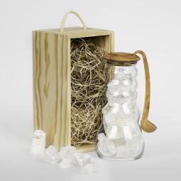 Cadus Krug 1 Liter Salt mit Olivenholzdeckel und Löffel, Set